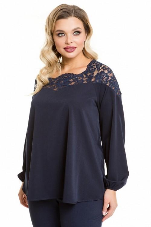 Блузка 1092 темно-синяя Novita