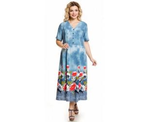 Платье 1022 цветы на голубом Novita