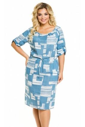 Платье 1027 абстракция на голубом Novita