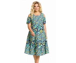 Платье 1030 цветы на синем Novita