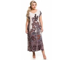 Платье 1145 огурцы на кремовом Novita