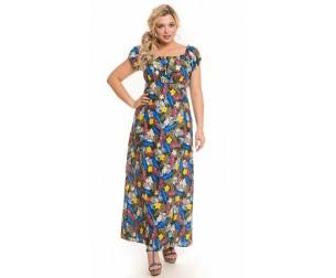 Платье 1150 цветы на зеленом Novita