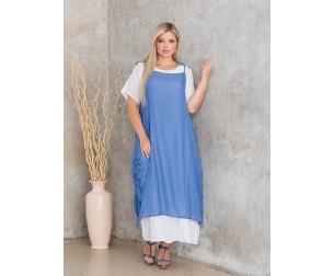Платье 1155 бело-синее Novita
