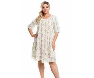 Платье 1167 цветы на белом Novita