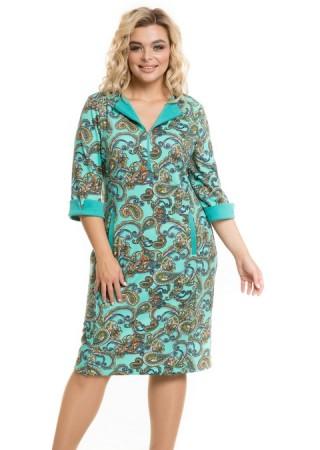 Платье 946 огурцы на мятном Novita