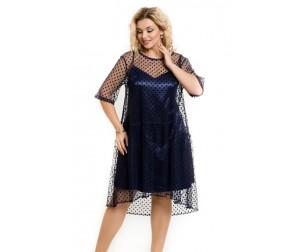Платье 953 синий горох Novita