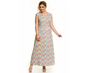 Платье 624 цветы на голубом Novita