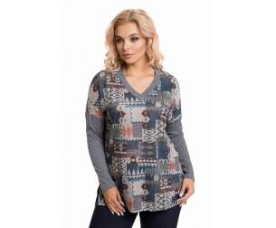 Пуловер 724 серый-бежевый Novita
