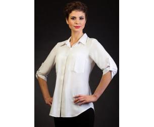 Удлиненная белая блузка Fabrika bluzok