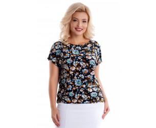 Блузка черная с цветочным принтом Liza-fashion