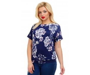 Блузка с атласными лентами синяя Liza-fashion