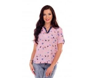 Блузка розовая с принтом Liza-fashion