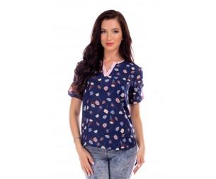 Блузка синяя с принтом Liza-fashion