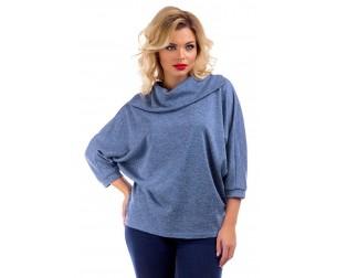 Блузка голубая с воротником-хомут Liza-fashion