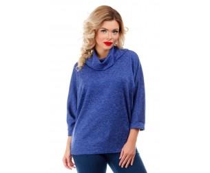Блузка синяя с воротником-хомут Liza-fashion