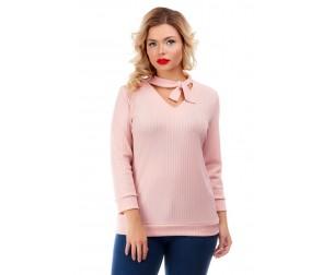 Блузка светло-персикового оттенка с бантом Liza-fashion