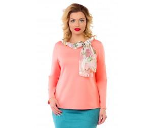 Блузка розово-персиковая с шарфом Liza-fashion