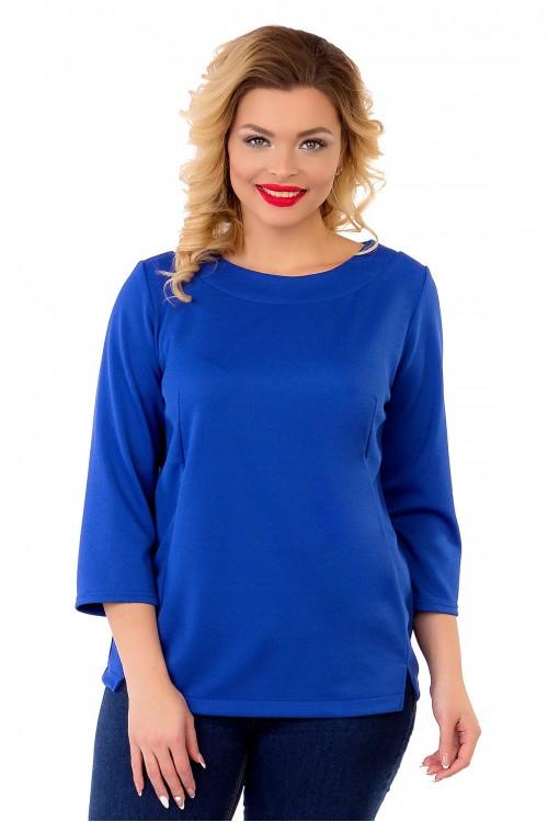 Блузка однотонная синяя Liza-fashion