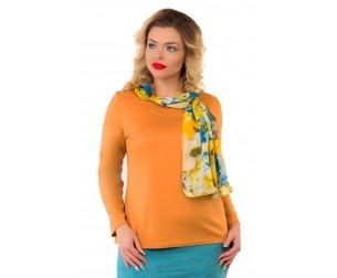 Блузка темно-горчичного оттенка с шарфом Liza-fashion
