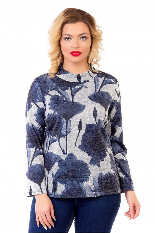 Блузка серая с крупным принтом Liza-fashion