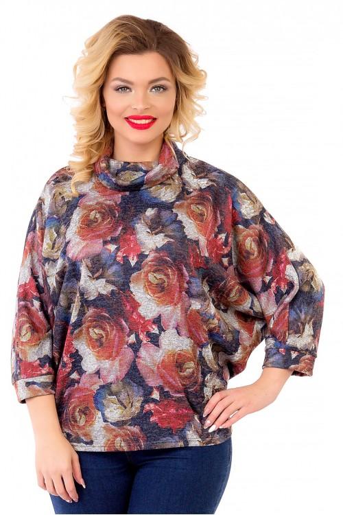 Блузка с крупным цветочным принтом Liza-fashion