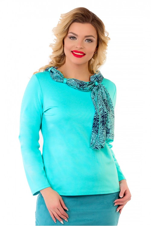 Блузка бирюзовая с шарфом Liza-fashion