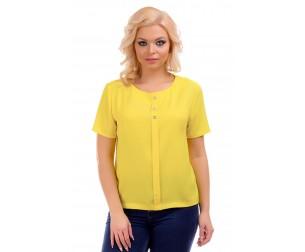 Блузка с имитацией планки желтая Liza-fashion