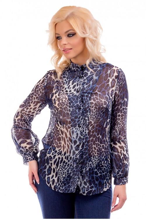 Рубашка шифоновая с леопардовым принтом Liza-fashion