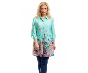 Рубашка-туника мятного оттенка Liza-fashion