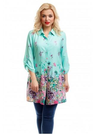 Рубашка-туника мятного оттенка…