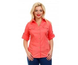 Рубашка хлопковая розовая Liza-fashion