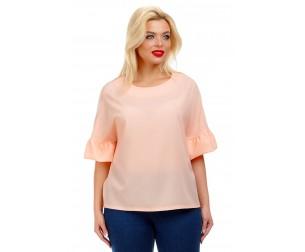 Блузка с воланами персикового оттенка Liza-fashion