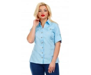 Рубашка хлопковая голубая Liza-fashion