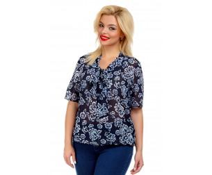 Блузка с воротником-бантом темно-синяя Liza-fashion