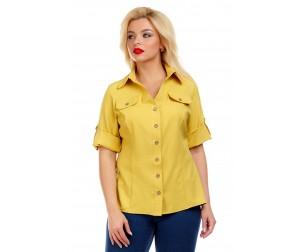 Рубашка льняная горчичного оттенка Liza-fashion