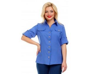 Рубашка льняная синяя Liza-fashion
