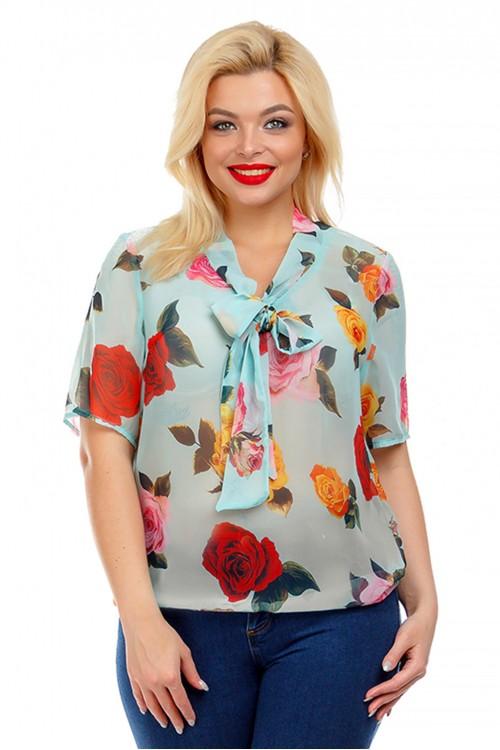 Блузка с воротником-бантом бирюзовая Liza-fashion