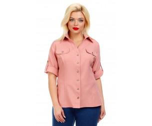Рубашка льняная розовая Liza-fashion