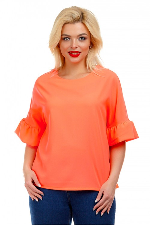 Блузка с воланами коралловая Liza-fashion