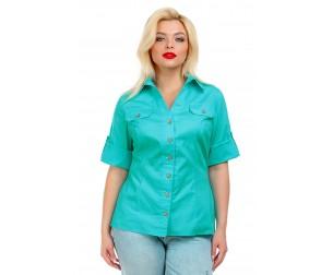 Рубашка хлопковая бирюзовая Liza-fashion