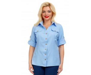 Рубашка льняная голубая Liza-fashion
