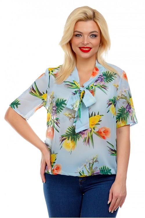 Блузка с воротником-бантом голубая Liza-fashion