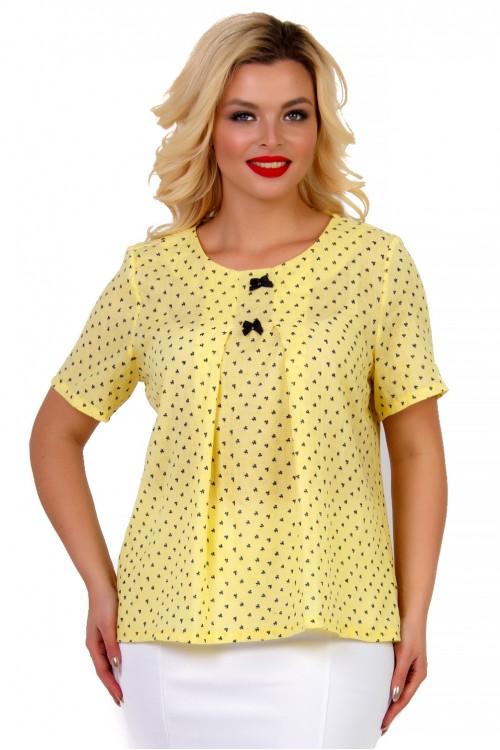 Блузка желтая с принтом бантики Liza-fashion