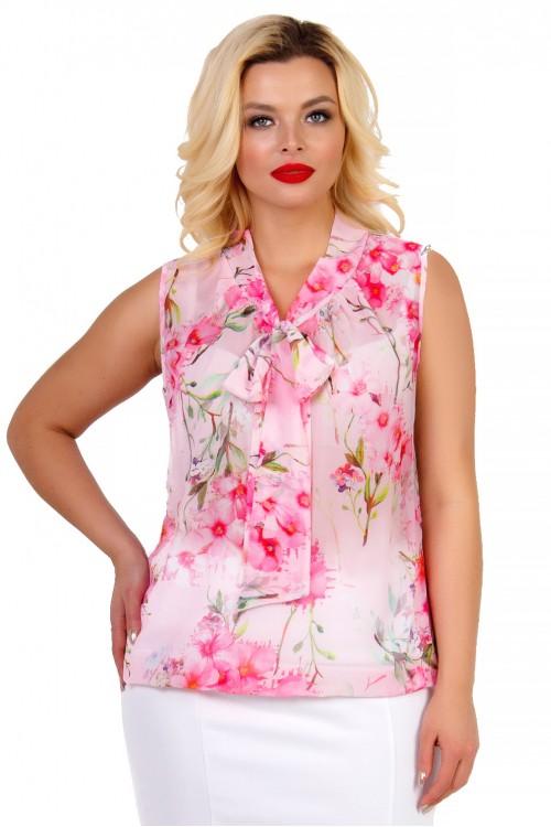 Блузка с воротником-бантом розовая Liza-fashion