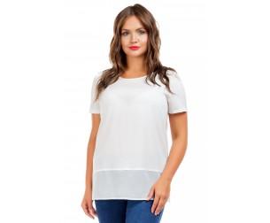 Туника однотонная белая Liza-fashion