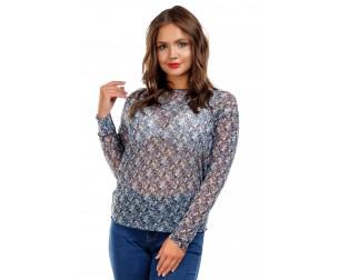 Блузка из трикотажной сетки голубая Liza-fashion