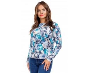 Блузка с бирюзово-белым принтом Liza-fashion