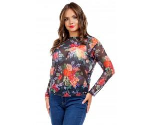 Блузка из трикотажной сетки с принтом Liza-fashion