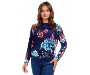 Блузка с рукавом летучая мышь темно-синяя Liza-fashion