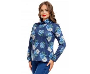 Водолазка синяя с цветочным принтом Liza-fashion